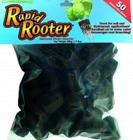GENERAL HYDROPONICS Rapid Rooter® plugs are all natural soilless grow plugs made of composted tree bark and organic materials. These plugs are perfect for seedlings or cuttings. Transplant plugs in soil or soilless hydrogardening applications.