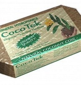 "GENERAL HYDROPONICS CocoTek® is pH balanced and contains low sodium content for coir fiber. It increases water holding capacity and nutrient retention, expanding to 5 times it's condensed brick size. CocoTek® can be mixed with any other growing media. The ""mixed"" brick conta"