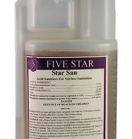 "FIVE STAR Use 2 tablespoons per 5 gallons of water, soak for 5 minutes. A foaming acid anionic sanitizer that penetrates hard-to-see places. No rinse. Does not stain and will not impart odors or off flavors.<br /> <br /> <iframe width=""560"" height=""315"" src=""https://www.youtub"