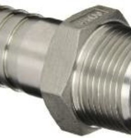 "LD CARLSON STAINLESS STEEL 1/2"" BARBED HOSE FITTING - 1/2"" MALE NPT"