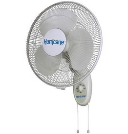 HURRICANE The Hurricane® 16 in Oscillating Fan has 3-speeds, high, medium and low which is controlled by a dial or pull cords. Ideal for home, greenhouses, garages, workshops and other areas with limited floor space. It has 90° oscillation or can be locked in non-o