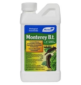 MONTEREY Easy-to-mix liquid concentrate. Kills caterpillar-type insects, but has no effect on birds, earthworms or beneficial insects such as honeybees and ladybugs, when used as directed. Worm stage and caterpillars eat treated foliage, then immediately stop feed