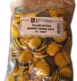 LD CARLSON YELLOW CROWN CAPS WITH OXY- LINER 144/BAG