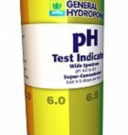 GENERAL HYDROPONICS Fill a test-tube halfway with nutrient, add a few drops of pH Test Indicator, and observe the coloration of the liquid in the test vial. Use 3 drops per 5mL of solution.