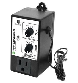 TITAN CONTROLS Temperature control range is 55° F to 95° F.<br />Controls cooling or heating equipment.<br />Day and night settings keep temperature within 4° F of set point.<br />6 foot temperature probe is accurate to within 2° F.<br />Plastic enclosure protects internal components from