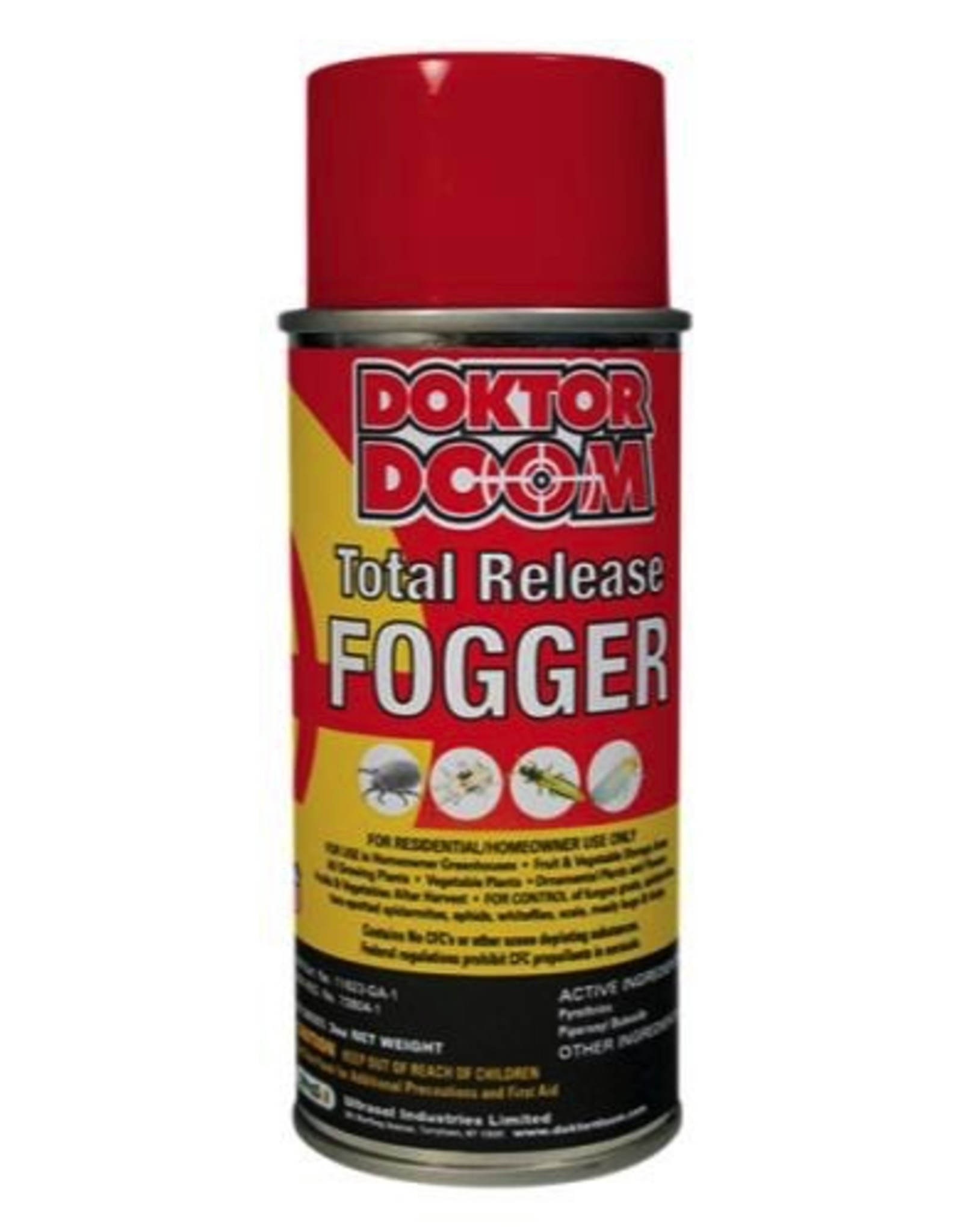 DOKTOR DOOM A total release fogger for use in homeowner greenhouses, fruit and vegetable storage areas and indoor gardening areas. Can be used with all ornamental plants, flowers, fruits and vegetables. Used for controlling fungus gnats, spider mites, two-spotted spi