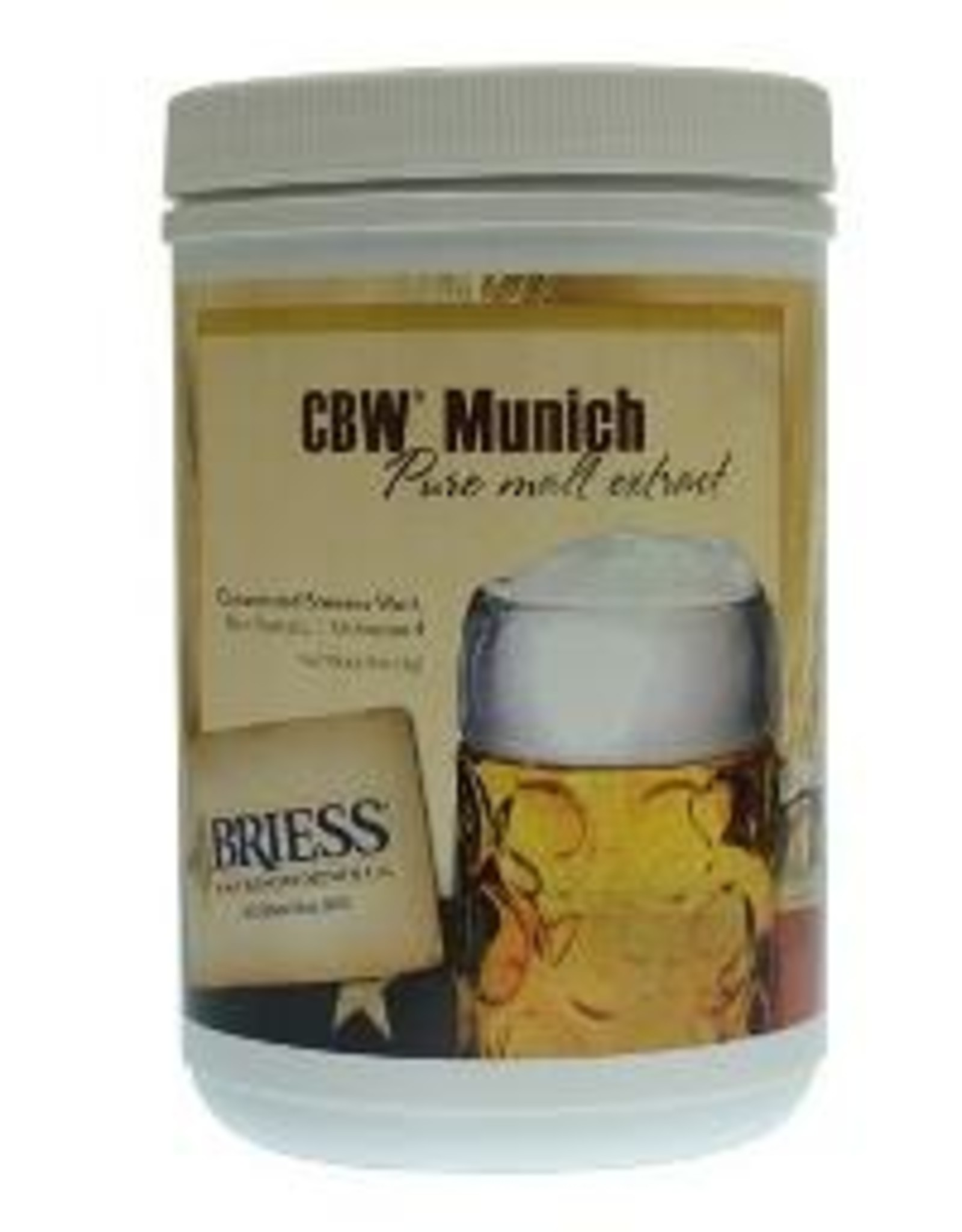 """BRIESS BRIESS MALT EXTRACT (UNITED STATES) - Concentrated Brewers Wort (CBW) that has been """"gently heated"""" to pasteurize the malt. Packed in 3.3 lb. plastic canisters, 12 per case. Shelf life is good, but prolonged storage is not recommended. Priced per canister"""