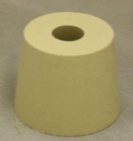 "LD CARLSON PURE WHITE GUM LABORATORY STOPPER - with 3/8"" drilled center hole. Top diameter: 1 1/8"" Bottom diameter: 1 1/16"""