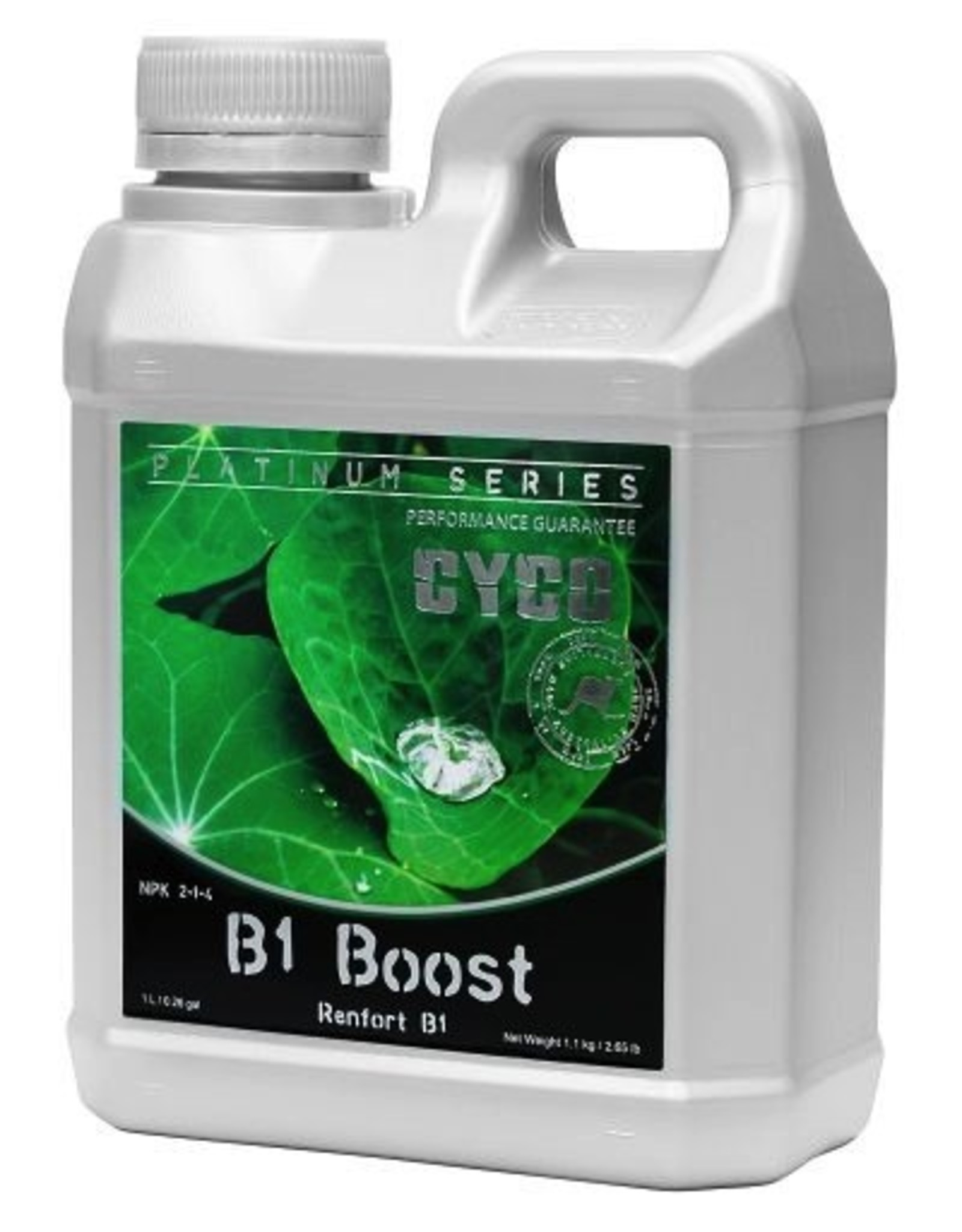 """CYCO Cyco B1 Boost helps to stimulate the growth of roots at any time in a plant's life cycle. B1 Boost is seen as an """"insurance policy,"""" as it is difficult to determine if an underperforming plant is capable of producing B1 in sufficient amounts. The phosphor"""