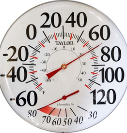"""Taylor THERMOMETER W/HYGROMETER 12"""" DIAL<br /> Dimensions: 12"""" wide x 1-5/8"""" thick"""