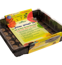 jump start The Jump Start 36 Cell Greenhouse includes 36 biodegradable grow pellets which snugly and securely help seeds germinate and root. Start a vegetable or herb garden right on your windowsill or anywhere else that is convenient in this reusable waterproof tra