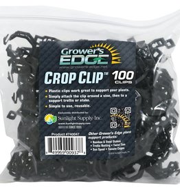 GROWERS EDGE Grower's Edge® Black Crop Clip™ are plastic and work great to support your plants while they grow. Simply attach the clip around plant vine and then to a support system such as stakes or trellis. Easy to use and completely reusable.
