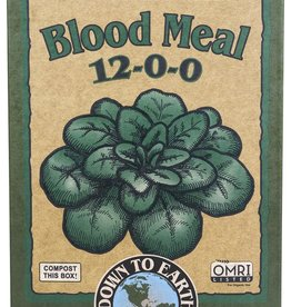 Down To Earth™ Down To Earth™ Blood Meal 12 - 0 - 0<br /> <br /> A high nitrogen source, our Blood Meal is guaranteed to promote rapid, green growth. A wonderful fertilizer for heavy feeders like corn, spinach, salad greens and garlic in the early spring, it also helps compost pile