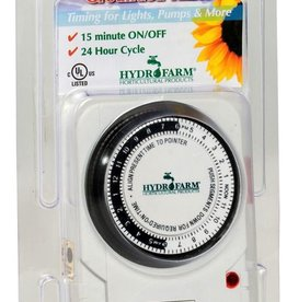 HYDROFARM Hydrofarm Analog Grounded Timer, 1725W, 15A, 15 Minute On/Off, 24 Hour