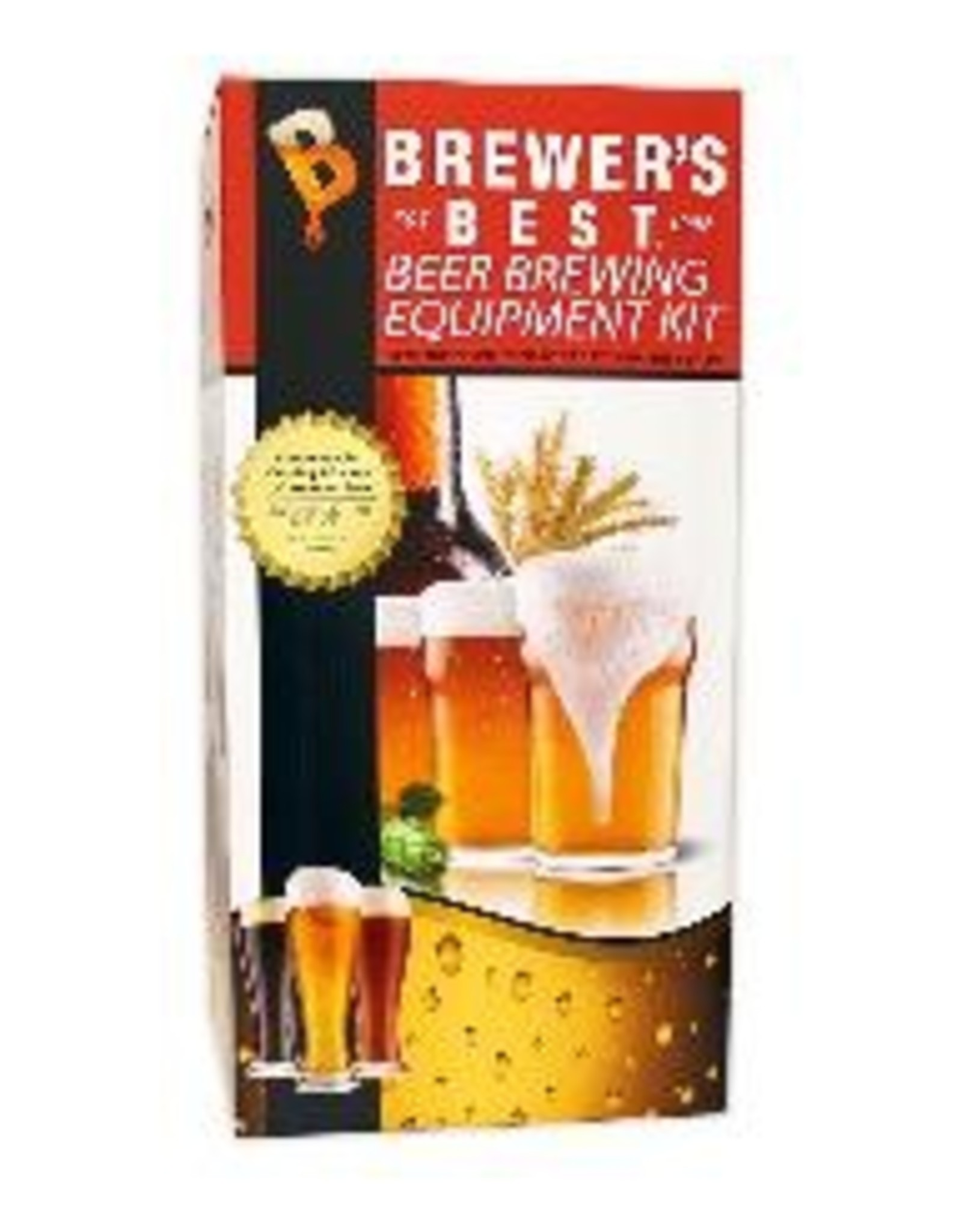"""BREWERS BEST The complete equipment package. Contains everything a beginning brewer needs except boiling pot, bottles and caps: 6.5 gallon """"Ale Pail"""" Primary Fermenter with Grommeted Lid, 6.5 gallon """"Ale Pail"""" Bottling Bucket with Spigot, 5 Gallon Glass Carboy, """"Home"""