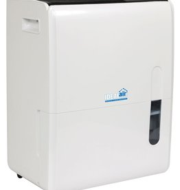 IDEAL-AIR Rated at 120 pints per day at 86°F/80% RH. Quick maintenance with easy filter access that is removable and washable. Low temperature defrosting. Easy to move with built in handles and wheels. Features a LED display panel. Removable water tank with an auto