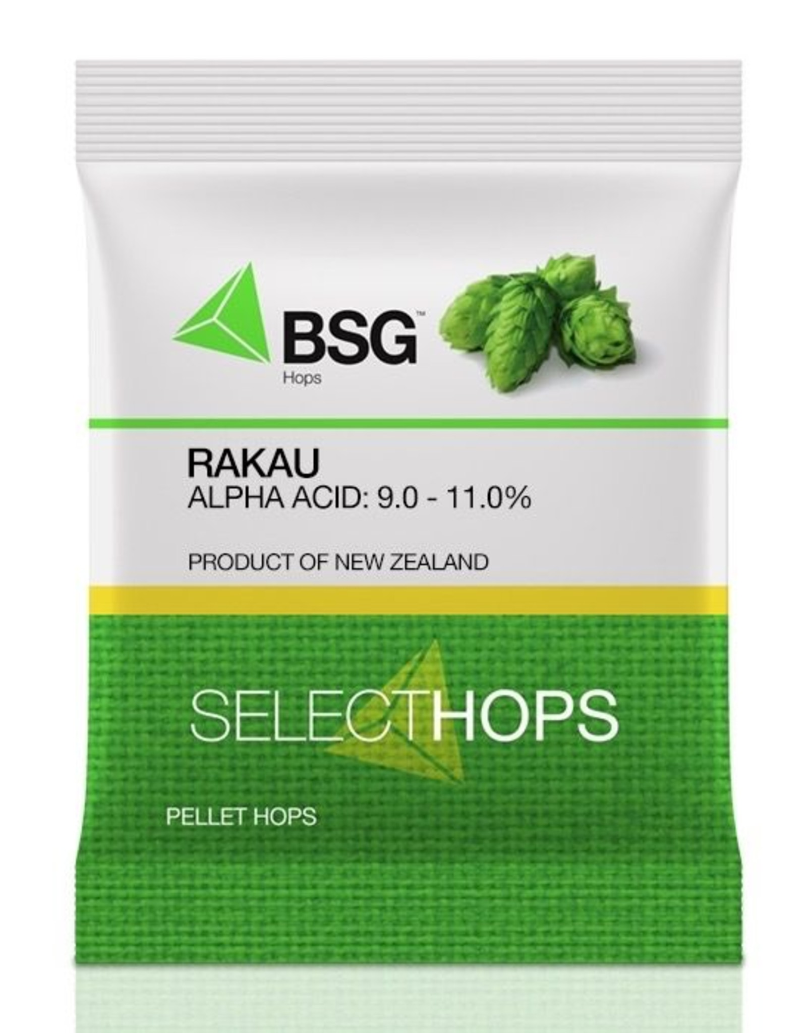 """bsg Origin: New Zealand. A dual-purpose  variety from HortResearch released in 2007. <br /> <br /> Usage: Dual purpose. Rakau™ is a total package of high alpha acids and oil content (particularly myrcene) with low cohumulone, making it ideal for the """"hoppy not bitter"""" sc"""