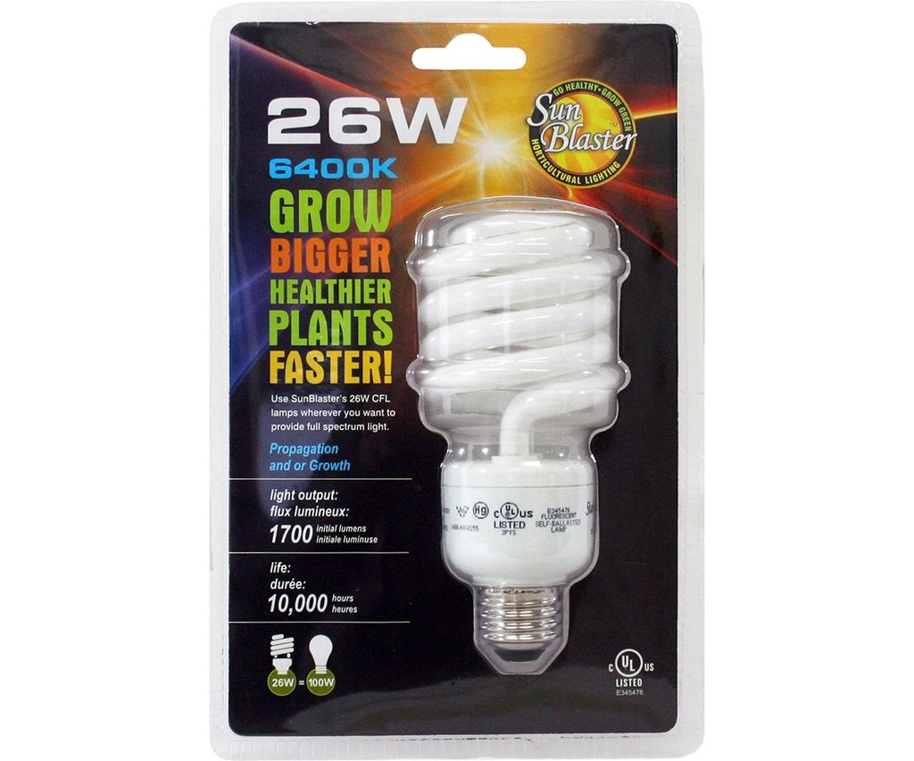 SUN BLASTER State-of-the-art electronic, compact fluorescent bulbs are the smallest sized full-spectrum, energy saving lights available. These 26 watt compact fluorescent bulbs fit into a variety of light fixtures such as table lamps, wall sconces and track lights. F