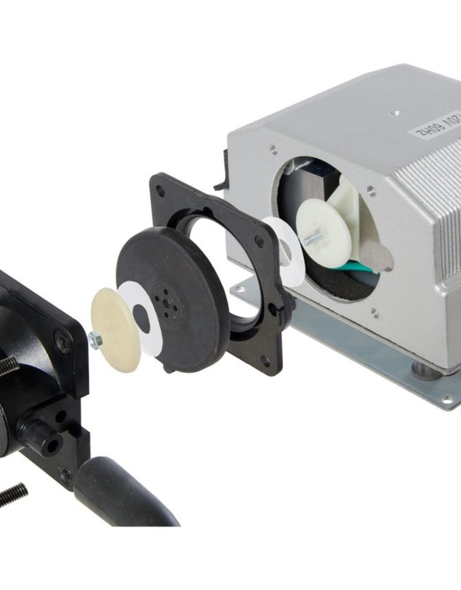 """ACTIVE AQUA The Active Aqua Dual Diaphragm Air Pump is ideal for all hydroponic applications where quiet, consistent, and powerful airflow output is required. Its multi-outlet divider accepts 0.25"""" tubing and provides up to four separate channels of high volume air o"""
