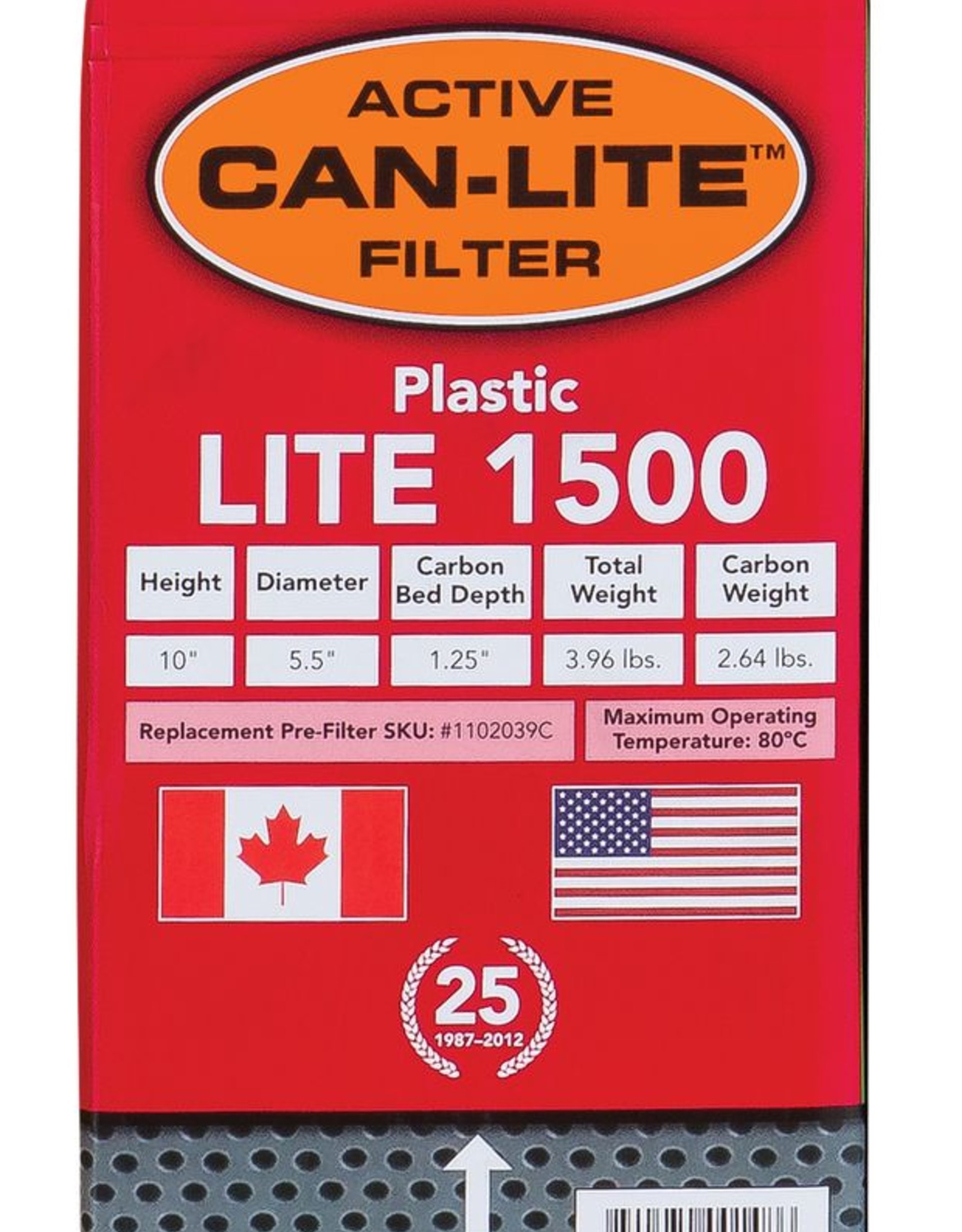 CAN FAN Can-Lite Filter 1500 Plastic w/ out Flange 177 CFM