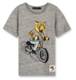 FINGER IN THE NOSE E19 DALTON Heather Grey Moto Tiger - Boy Knitted Short Sleeves T-Shirt