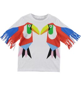 STELLA MCCARTNEY E19 kid girl toucan fringe tee
