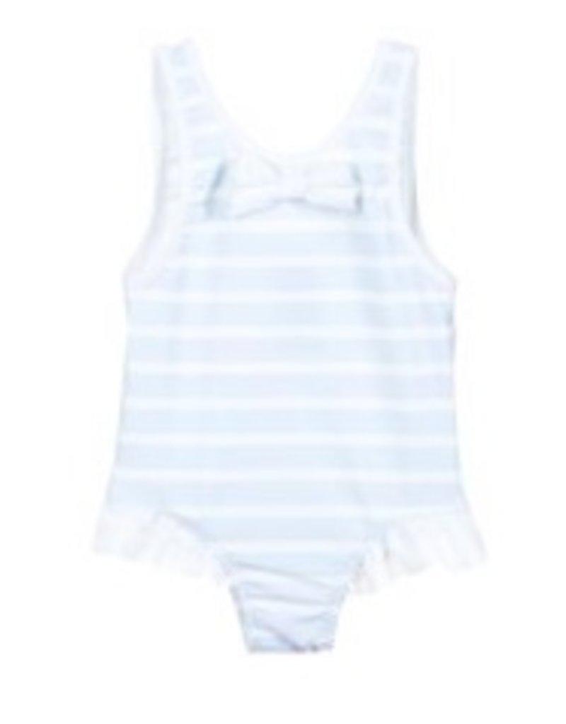 Patachou Girls Blue Stripe Swimsuit