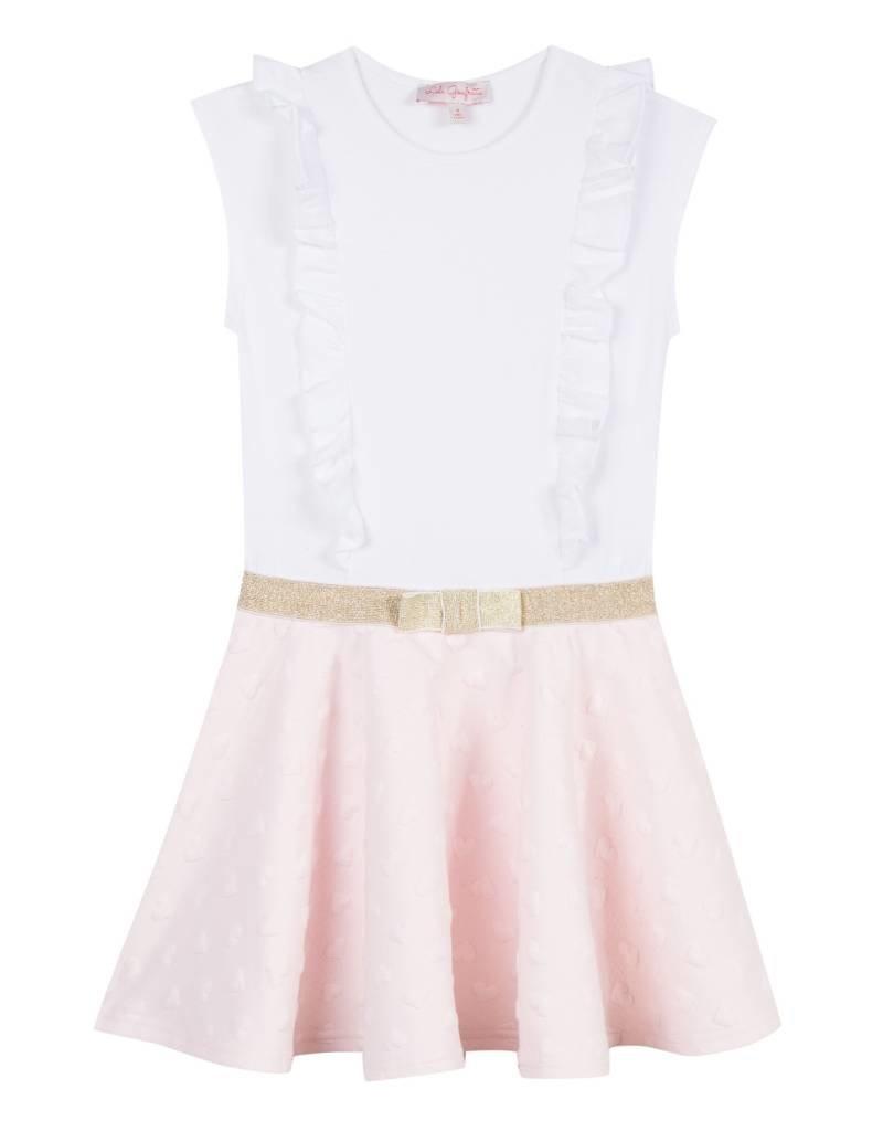 Lili Gaufrette White & Pink Gold Bow Dress