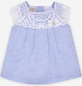 paz rodriguez Baby Girl Blue Woven Dress & Bloomers