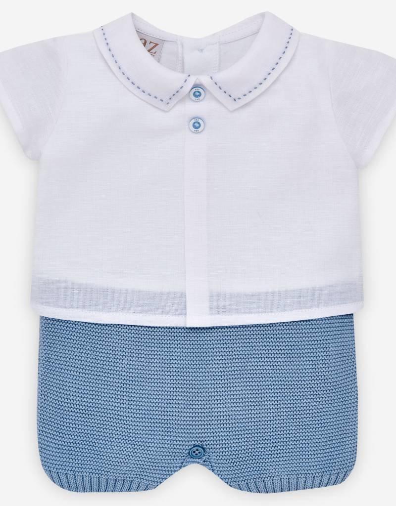 paz rodriguez Baby Boy White & Blue Linen Knit Romper