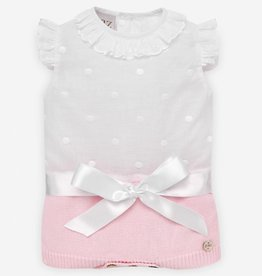 paz rodriguez Baby Girl White & Pink Bow Body