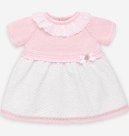 paz rodriguez Baby Girl Pink & White Knit Dress