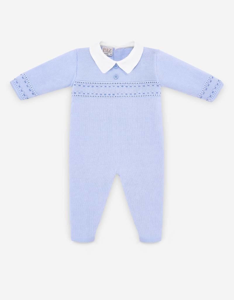paz rodriguez Baby Boy Blue Knit Collared Romper