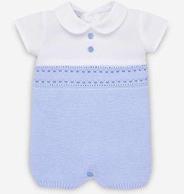 paz rodriguez Baby Boy White & Blue Knit Romper