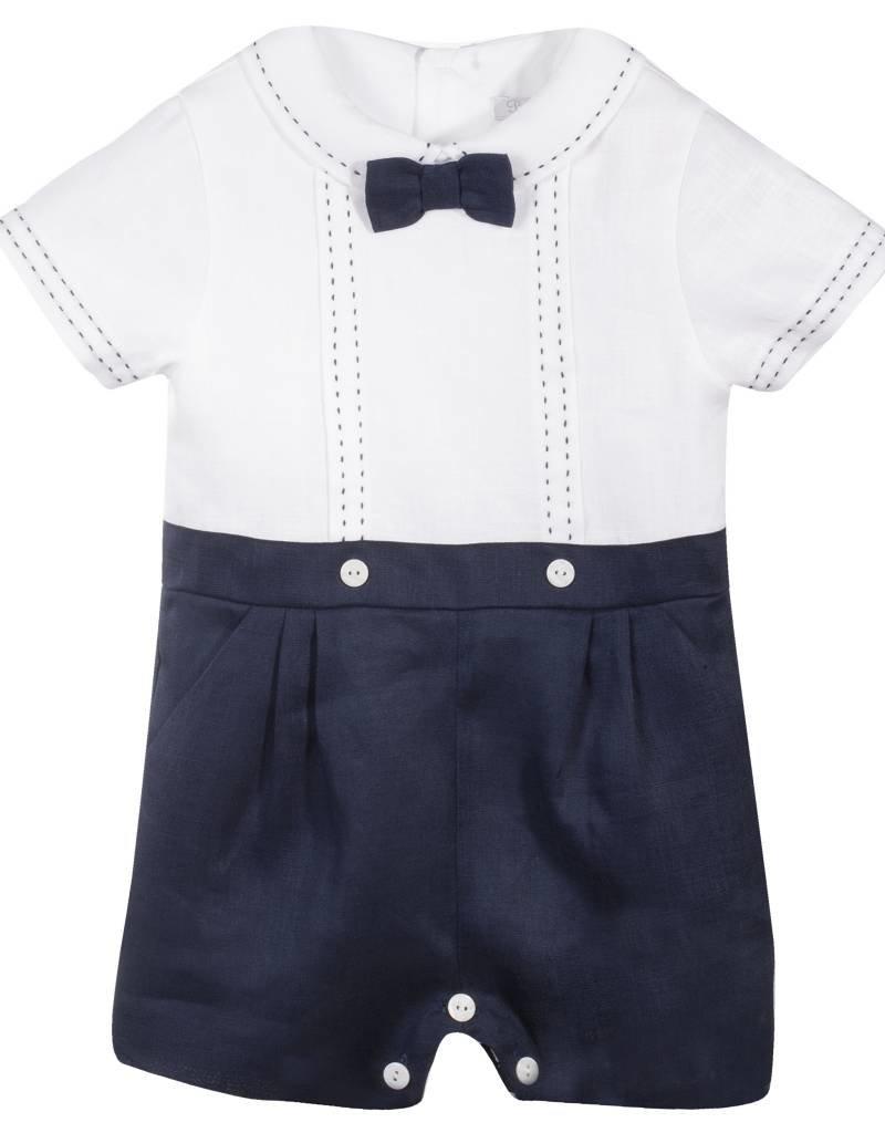 Patachou Baby Boy Navy Linen Romper