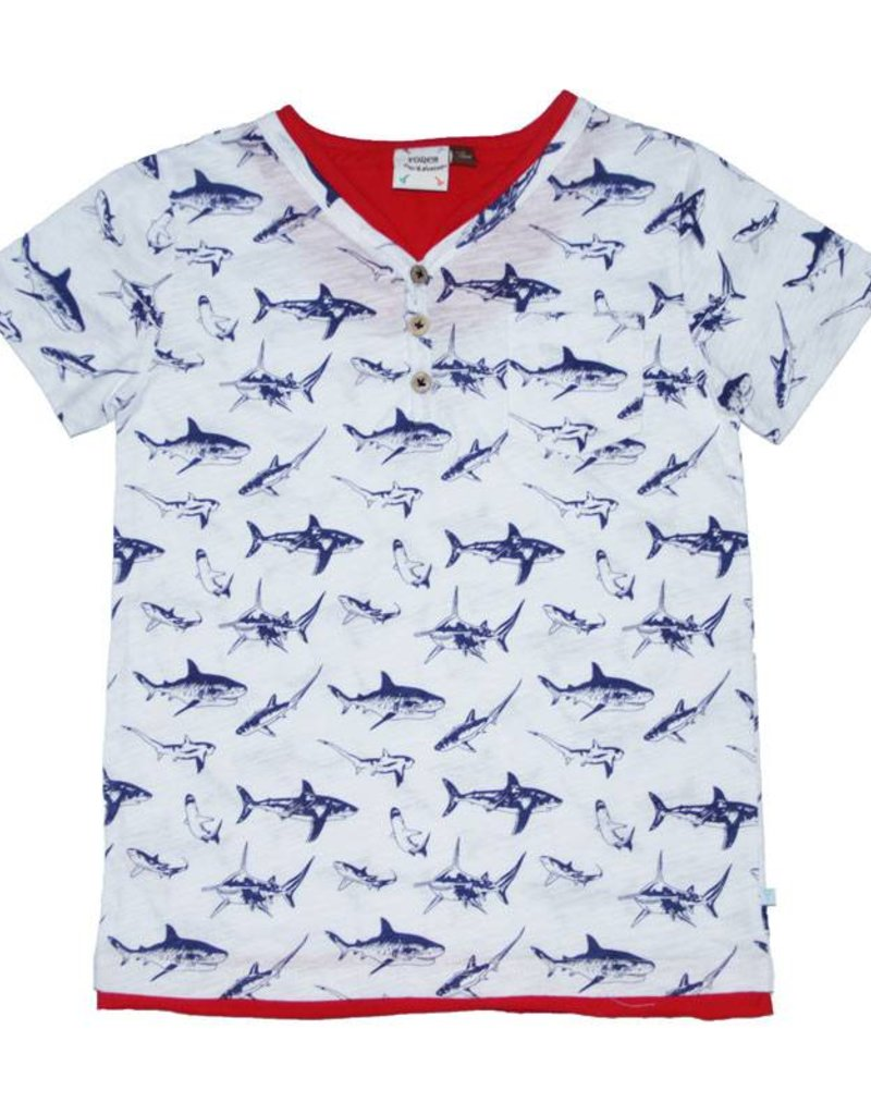 Fore Axel & Hudson Boys White & Blue Shark Henley