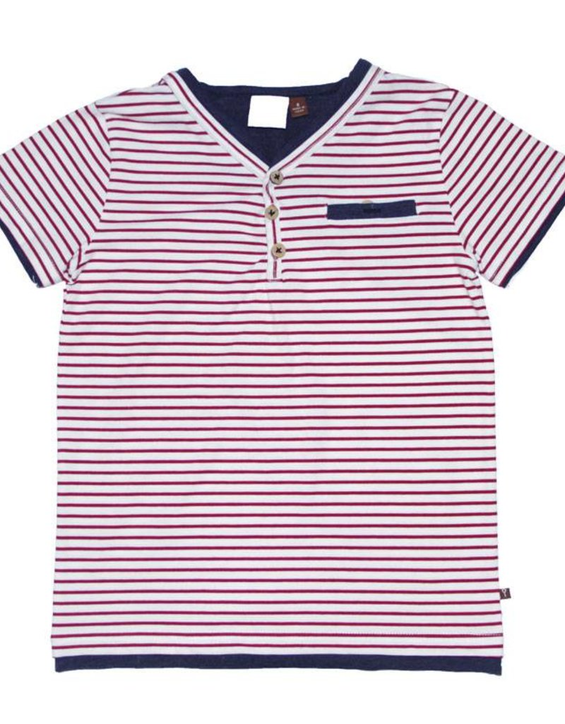 Fore Axel & Hudson Boys Red & White Stripe Henley