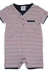 Fore Axel & Hudson Baby Boy Red & White Stripe Henley Romper