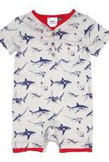 Fore Axel & Hudson Baby Boy Blue & White Shark Henley Romper