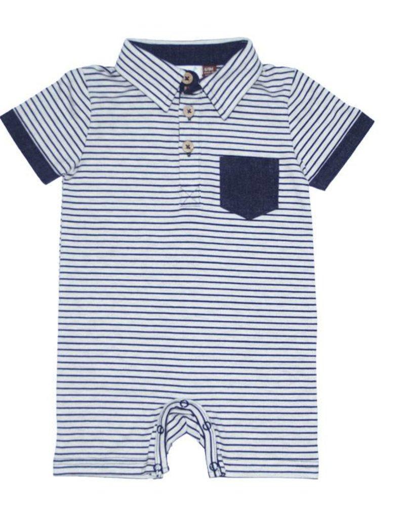 Fore Axel & Hudson Baby Boy Navy Stripe Polo Romper