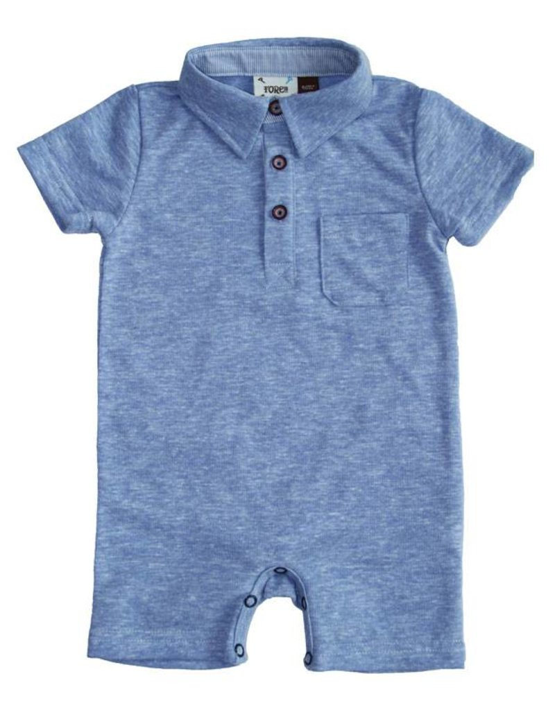 Fore Axel & Hudson Baby Boy Blue Polo Romper