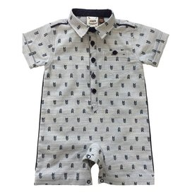 Fore Axel & Hudson Baby Boy Blue Arrow Feather Print Romper
