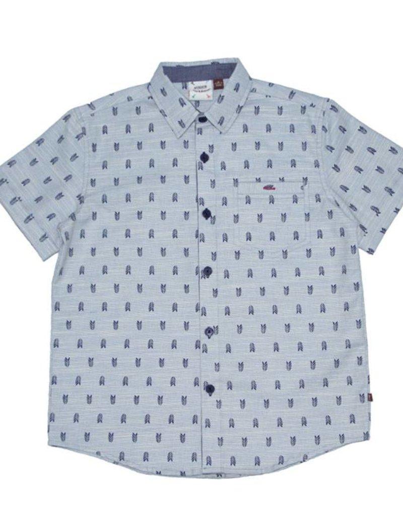 Fore Axel & Hudson Boys Blue Arrow Feather Print Shirt