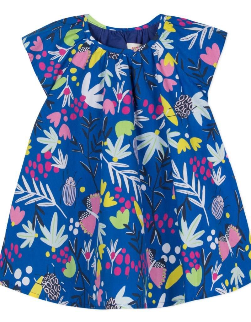 Catimini Girls Blue Floral Print Dress