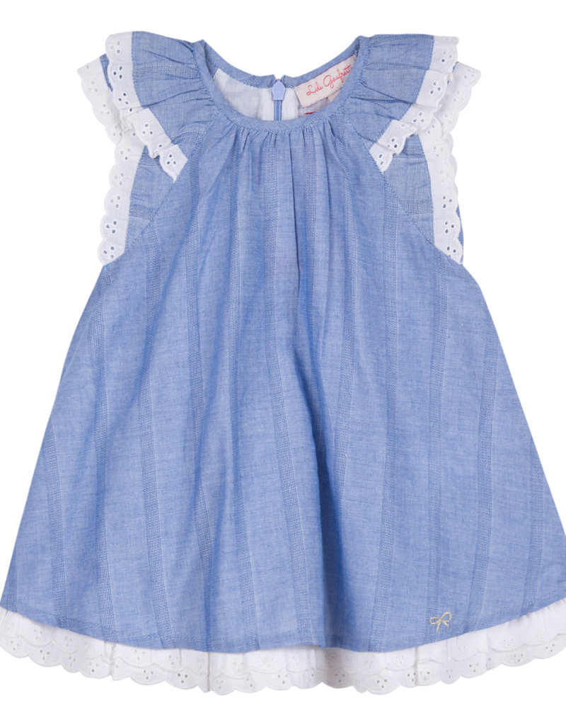 Lili Gaufrette Girl Blue Chambray Eyelet Dress