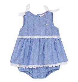Lili Gaufrette Baby Girl Chambray Eyelet Bubble