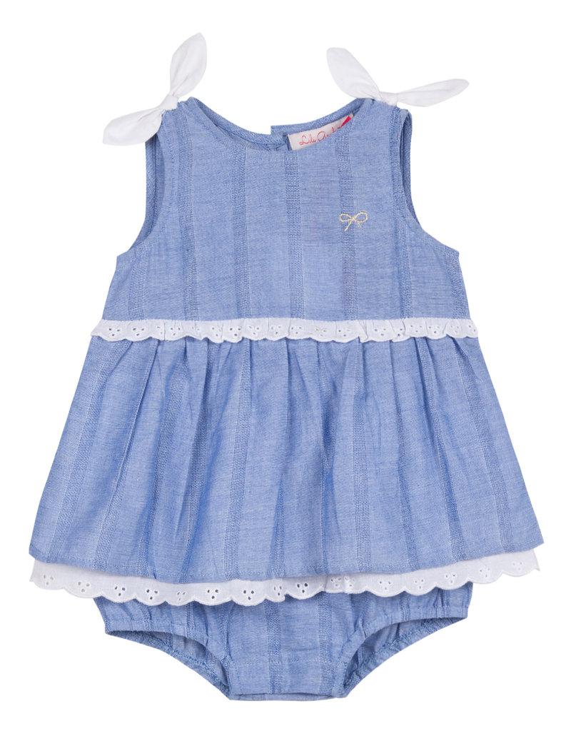 Lili Gaufrette Baby Girl Chambray Eyelet Bubble