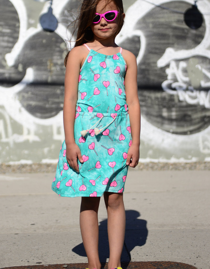 Appaman Girls Teal & Pink Heart Dress