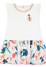 Catimini White & Multi Print Dress