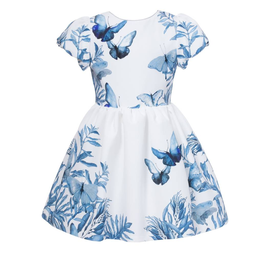 f923943ee329e Blue Butterfly Print Dress - Doodle   Stinker Children s Boutique